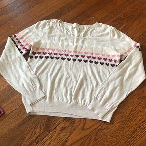 LC Lauren Conrad cream colored heart sweater